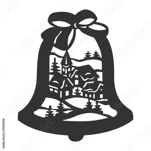Glocke mit weihnachtsdorf fensterbild schnittvorlage for Scherenschnitt weihnachten vorlagen kostenlos
