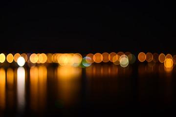 Night city defocused lights background