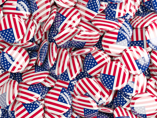 Background with round pins with flag of united states of america