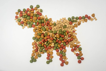 Dog food on a white background