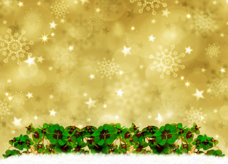 Golden Christmas Background and clover leaves.