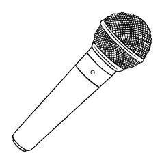 Vector Line Art Dinamic Microphone