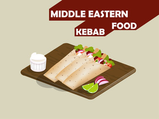 beautiful design of meat kebab,lime and mayonnaise on woodboard