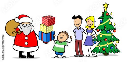 familie feiert weihnachten mit weihnachtsmann stockfotos. Black Bedroom Furniture Sets. Home Design Ideas