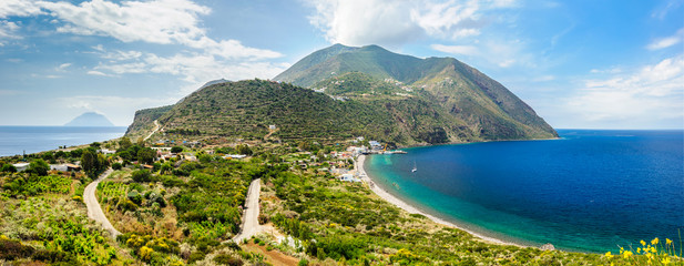 Filicudi island panorama, Aeolian islands, Italy.