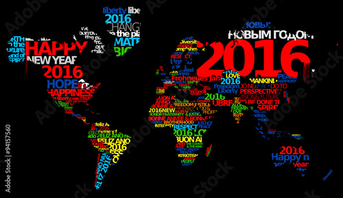 Happy new year 2016 world map words tag cloud text greetings wishes happy new year 2016 world map words tag cloud text greetings wishes worldwide international language colored m4hsunfo