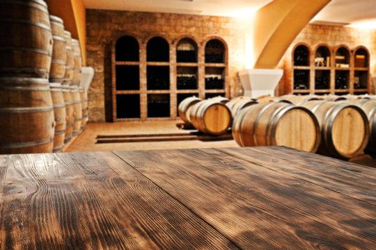 table and barrels