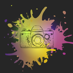 Old retro camera on the background of blots. Vector illustration