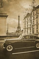 Vintage retro old styled paris sepia photography