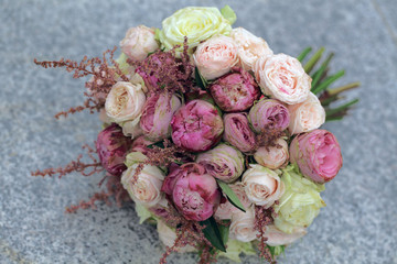 Wedding bouquet of flowers roses