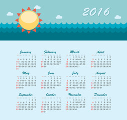 Sea Calendar for 2016. Week Starts Sunday.