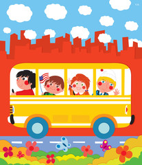 School children in a yellow school bus