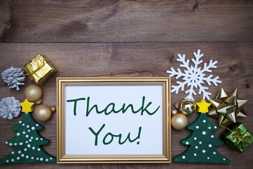 Frame With Christmas Decoration And Text Thank You