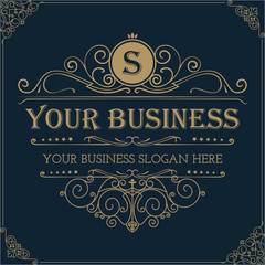 Elegant monogram design template. Luxury Logo template flourishes calligraphic. Ideal for Business sign, monogram identity for restaurant, boutique, cafe, hotel, heraldic, jewelry.