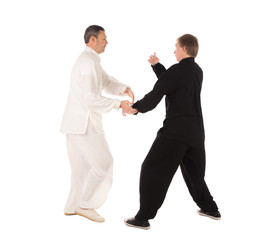 Two karate fighters. Training fight.
