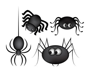 Spider halloween icon, symbol gradient mesh set. Vector illustration on white background