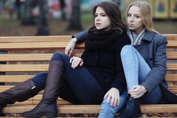 girl friend Stress concept autumn park
