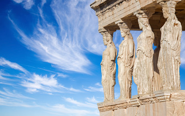 Aluminium Prints Ruins Athens - The statues of Erechtheion on Acropolis in morning light.