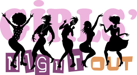 Girls' Night Out, EPS 8 vector illustration with black silhouettes of five dancing women, no transparencies