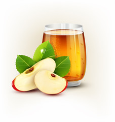 vector cup glass of apple juice with slices of apple on a white