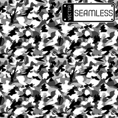 War black and white urban camouflage seamless vector pattern. Can be used for wallpaper, pattern fills, web page background, surface textures. Vector illustration