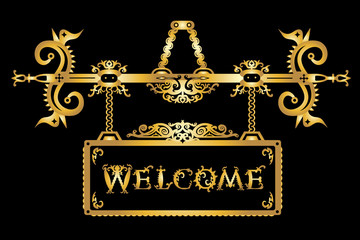 """Vector detailed vintage golden signboard and font """"Welcome"""" in a gothic Halloween style on black background. Vector illustration"""