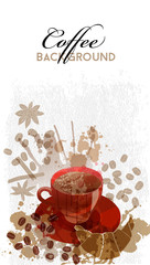 watercolor vector background of coffee