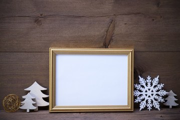 Picture Frame With White Christmas Decoration, Copy Space