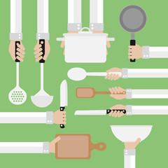 Design concept flat,cooking tools