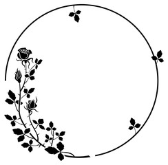 Elegant round frame with roses silhouettes