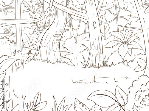 Jungle forest cartoon coloring book vector\