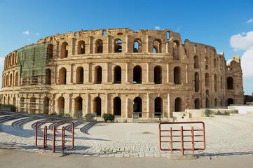 Exterior of the El Djem amphitheater in El Djem, Tunisia.