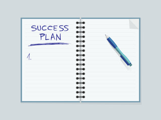 Lined paper notebook and pen. Creating strategy for personal success. Editable vector illustration.