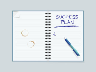 Lined paper notebook with coffee mug stains and pen. Creating strategy for personal success. Editable vector illustration.