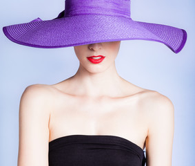 Portrait of attractive sexy woman with hat