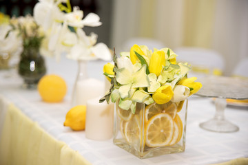 A beautiful wedding table decoration with stylized lemon