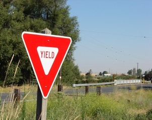 Yield sign along old country road
