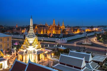 Temple of the Emerald Buddha at dusk, Wat Phra Kaew ,Thailand