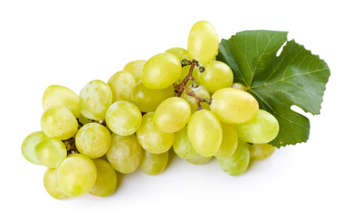 Juicy grape with leaf isolated on white