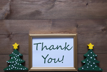 Picture Frame With Christmas Tree And Text Thank You
