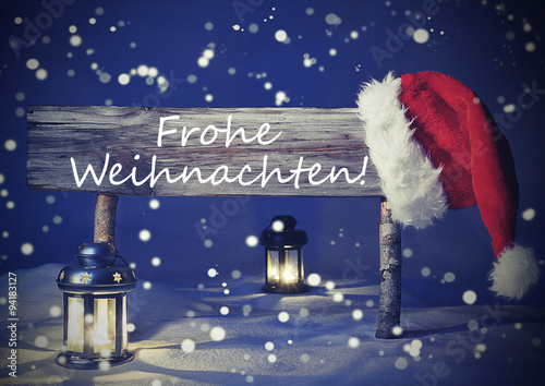 vintage card with sign frohe weihnachten means christmas. Black Bedroom Furniture Sets. Home Design Ideas
