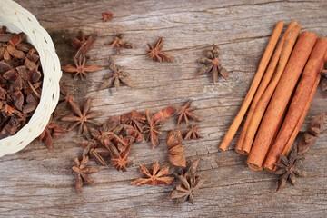 star anise and cinnamon