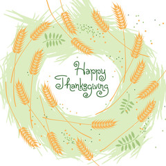 Happy Thanksgiving Fall Background with Wheat Ears