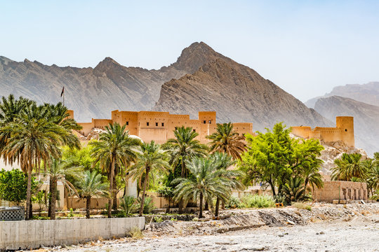 Nakhal Fort in the Al Batinah Region of Oman. It is located about 120 km to the west of Muscat, the capital of Oman. Nakhal town is known as the town of oasis.