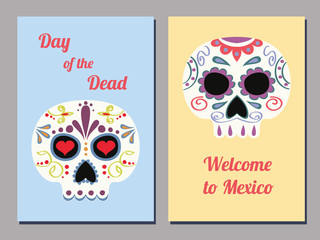 set of two vector greeting cards for the Mexican day of the Dead with decorated human skulls and text