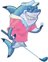 Mean Cartoon Golf Shark with Driver and Ball
