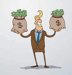 Vector man with two bags of money. Cartoon image of a man blonde in a brown suit, who keeps in each hand a bag of money on a light background.