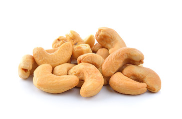 Cashews on white background