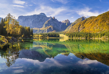 Hi-res panorama of mountain lake in the Alps