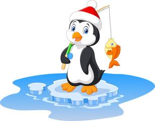 Illustration of penguin fishing